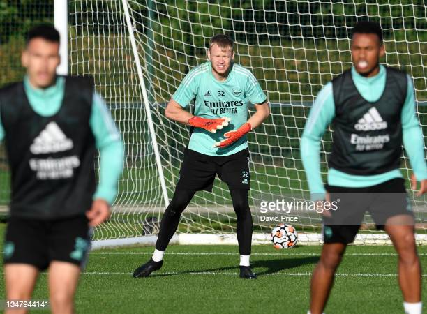 Aaron Ramsdale of Arsenal during the Arsenal 1st team training session at London Colney on October 21, 2021 in St Albans, England.