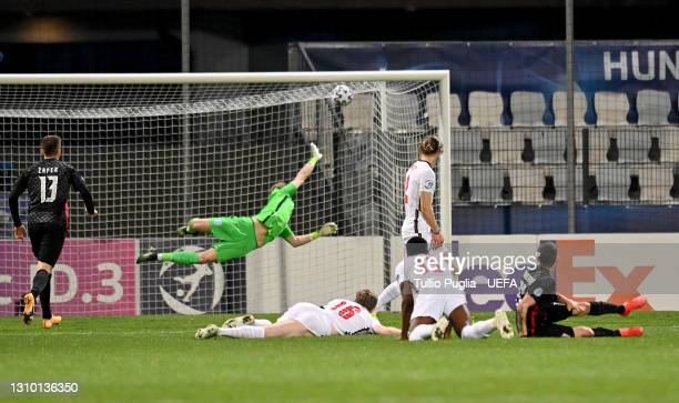 Aaron Ramsdale of England fails to save a shot from Domagoj Bradaric of Croatia as he scores his team's first goal during the 2021 UEFA European...