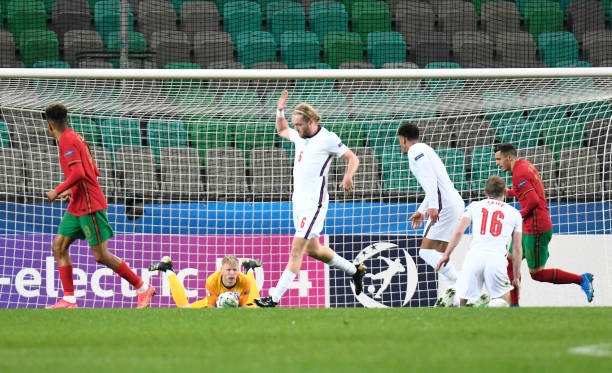 Aaron Ramsdale of England lies down with the ball during the 2021 UEFA European Under-21 Championship Group D match between Portugal and England at...