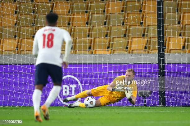 Aaron Ramsdale of England saves a penalty during the UEFA Euro Under 21 Qualifier match between England U21 and Turkey U21 at Molineux on October 13,...