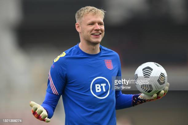 Aaron Ramsdale of England warms up prior to the international friendly match between England and Austria at Riverside Stadium on June 02, 2021 in...