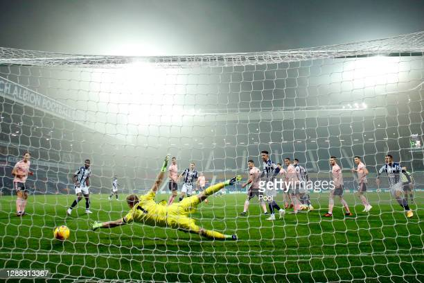 Aaron Ramsdale of Sheffield United fails to save a shot as Conor Gallagher of West Bromwich Albion scores his team's first goal during the Premier...