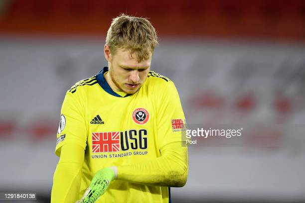 Aaron Ramsdale of Sheffield United looks dejected during the Premier League match between Sheffield United and Manchester United at Bramall Lane on...