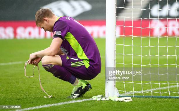 Aaron Ramsdale of Sheffield United looks dejected following their sides defeat in the Premier League match between Southampton and Sheffield United...