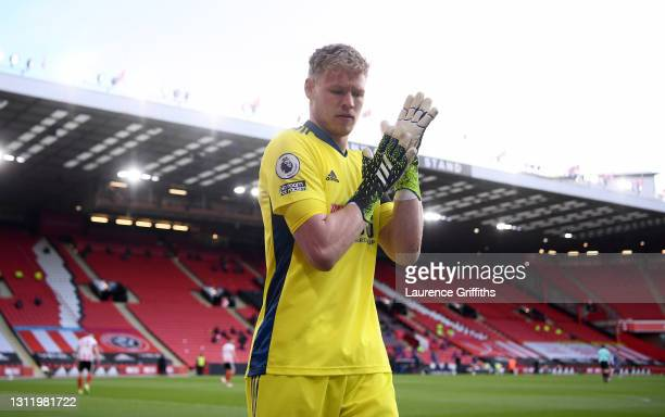 Aaron Ramsdale of Sheffield United looks on during the Premier League match between Sheffield United and Arsenal at Bramall Lane on April 11, 2021 in...
