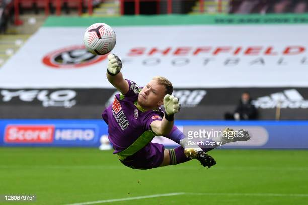 Aaron Ramsdale of Sheffield United makes a save during the Premier League match between Sheffield United and Fulham at Bramall Lane on October 18,...