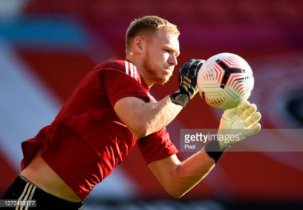 Aaron Ramsdale of Sheffield United warms up during the Premier League match between Sheffield United and Wolverhampton Wanderers at Bramall Lane on...
