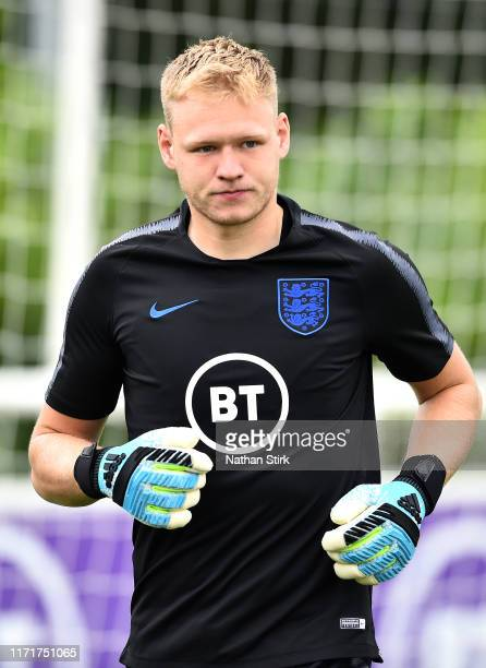 Aaron Ramsdale trains during an England U21's Media Access day at St Georges Park on September 02, 2019 in Burton-upon-Trent, England.
