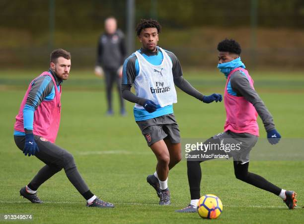 Aaron Ramsey Alex Iwobi and Ainsley MaitlandNiles of Arsenal during a training session at London Colney on February 2 2018 in St Albans England
