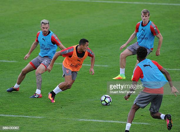 Aaron Ramsey Alexis Sanchez Rob Holding and Chuba Akpom of Arsenal during a training session at the Gothia Park Academy on August 6 2016 in...