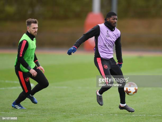 Aaron Ramsey and Ainsley MaitlandNiles of Arsenal during a training session at London Colney on April 4 2018 in St Albans England