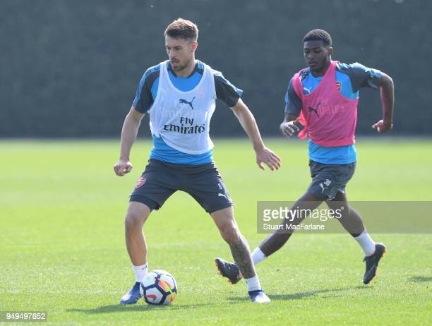 Aaron Ramsey and Ainsley MaitlandNiles of Arsenal during a training session at London Colney on April 21 2018 in St Albans England