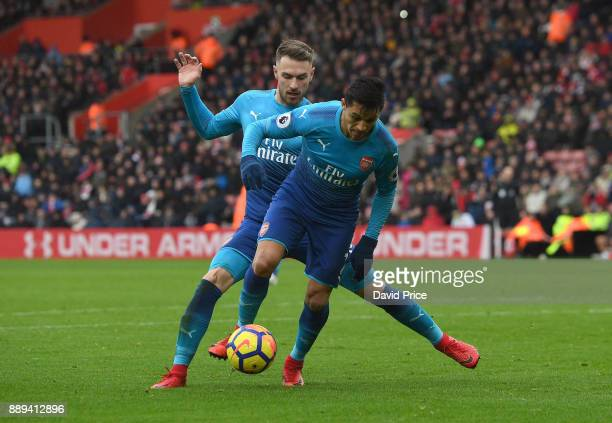 Aaron Ramsey and Alexis Sanchez of Arsenal during the Premier League match between Southampton and Arsenal at St Mary's Stadium on December 10 2017...