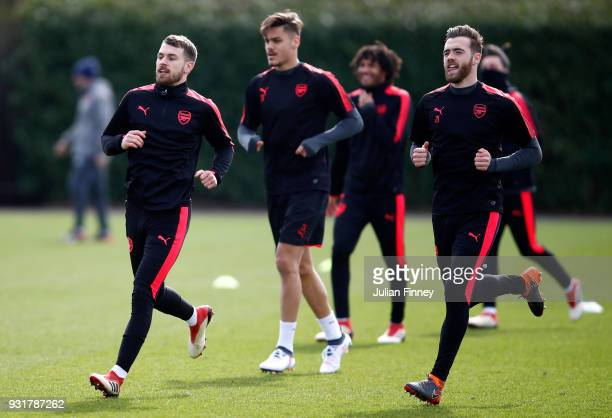 Aaron Ramsey and Calum Chambers of Arsenal during an Arsenal Training Session ahead of there Europa League 2nd Leg match against AC Milan at London...
