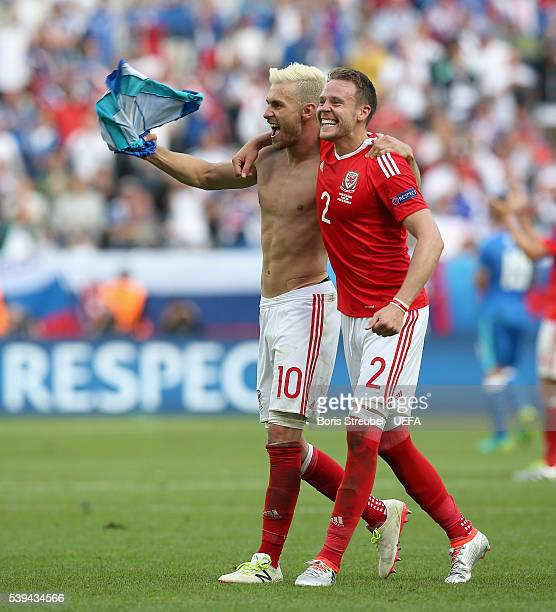 Aaron Ramsey and Chris Gunter of Wales celebrates after winning the UEFA EURO 2016 Group B match between Wales and Slovakia at Stade Matmut...
