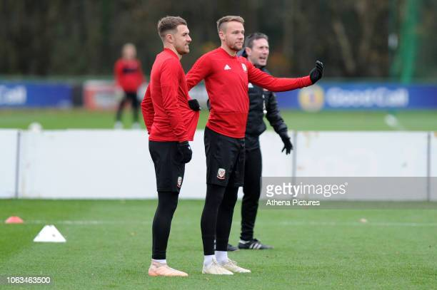 Aaron Ramsey and Chris Gunter of Wales during the Wales Training Session at The Vale Resort on November 19 2018 in Cardiff Wales