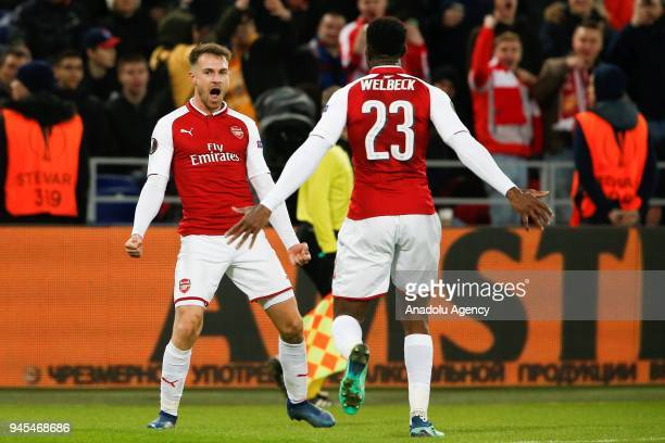 Aaron Ramsey and Danny Welbeck of Arsenal celebrate after scoring a goal during the UEFA Europa League Quarterfinals second leg match between CSKA...