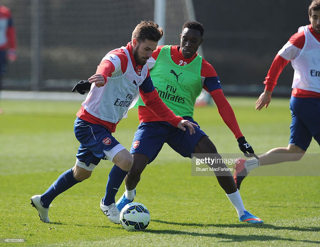 Aaron Ramsey and Danny Welbeck of Arsenal during a training session at London Colney on March 20, 2015 in St Albans, England.