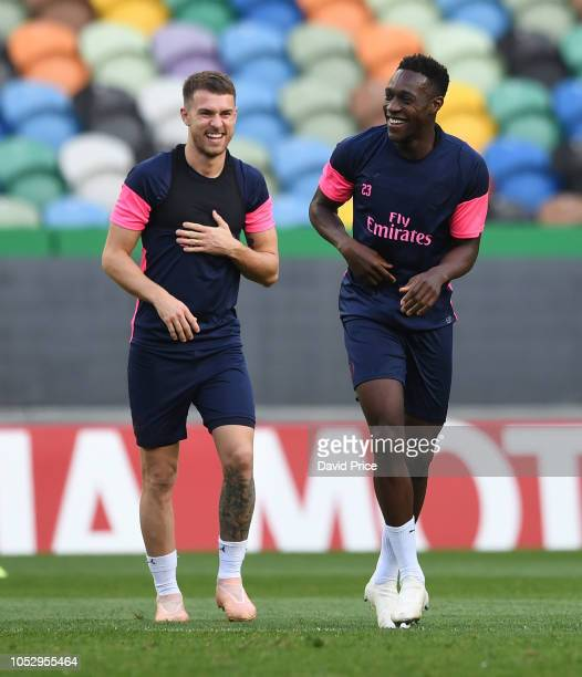 Aaron Ramsey and Danny Welbeck of Arsenal during the Arsenal Training Session at Estadio Jose Alvalade on October 24 2018 in Lisbon Portugal