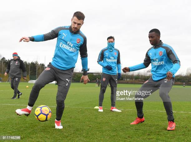 Aaron Ramsey and Eddie Nketiah of Arsenal during a training session at London Colney on January 29 2018 in St Albans England