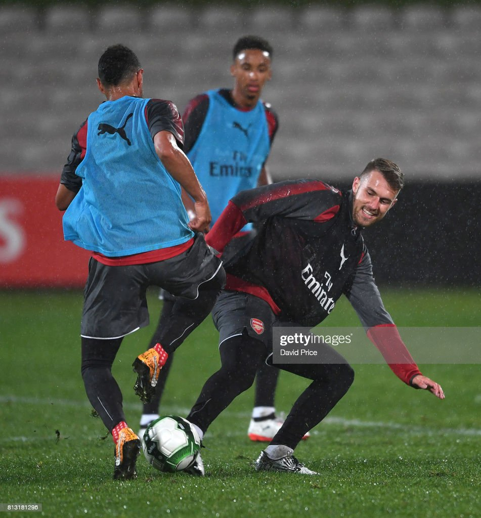 Aaron Ramsey and Francis Coquelin of Arsenal during the Arsenal Training Session at Koragah Oval on July 12, 2017 in Sydney, Australia.