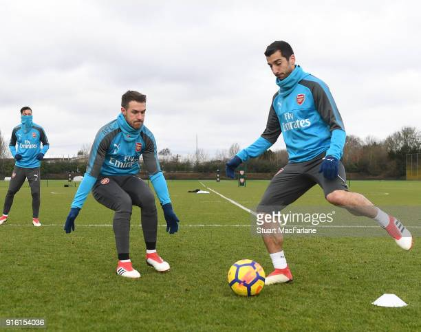 Aaron Ramsey and Henrikh Mkhitaryan of Arsenal during a training session at the London Colney on February 9 2018 in St Albans United Kingdom