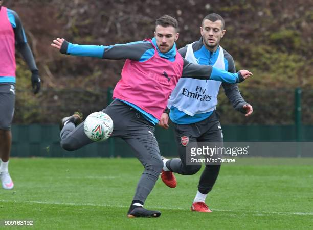 Aaron Ramsey and Jack Wilshere of Arsenal during a training session at London Colney on January 23 2018 in St Albans England