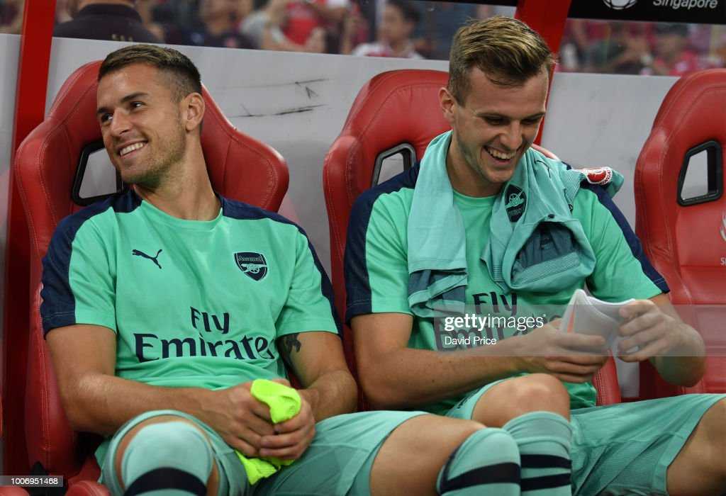 Aaron Ramsey and Rob Holding of Arsenal before the International Champions Cup match between Arsenal and Paris Saint Germain at the National Stadium on July 28, 2018 in Singapore.