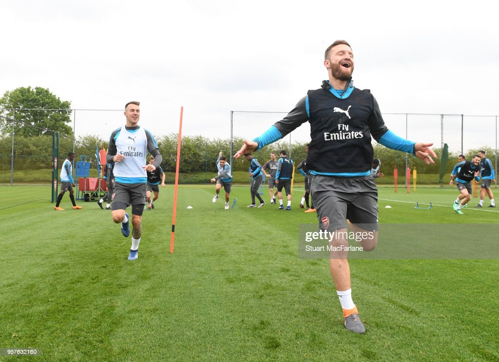 Aaron Ramsey and Shkodran Mustafi of Arsenal during a training session at London Colney on May 12, 2018 in St Albans, England.