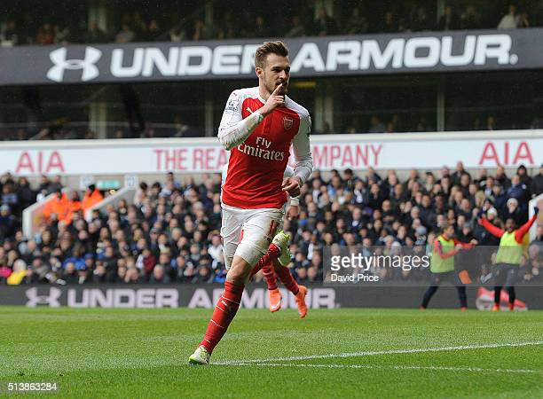 Aaron Ramsey celebrates scoring a goal for Arsenal during the Barclays Premier League match between Tottenham Hotspur and Arsenal at White Hart Lane...