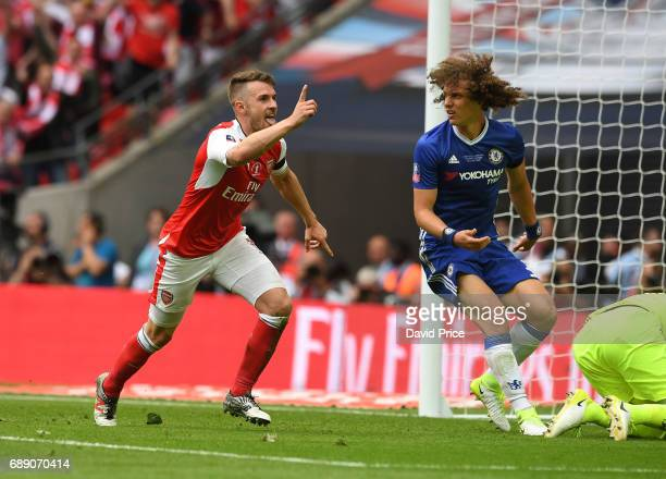 Aaron Ramsey celebrates scoring Arsenal's 2nd goal during the match between Arsenal and Chelsea at Wembley Stadium on May 27 2017 in London England