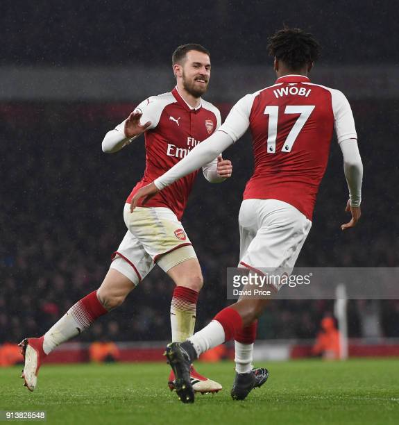 Aaron Ramsey celebrates scoring his 2nd goal Arsenal's 3rd with Alex Iwobi during the match the Premier League match between Arsenal and Everton at...