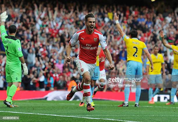 Aaron Ramsey celebrates scoring the 2nd Arsenal goal during the Barclays Premier League match between Arsenal and Crystal Palace at Emirates Stadium...