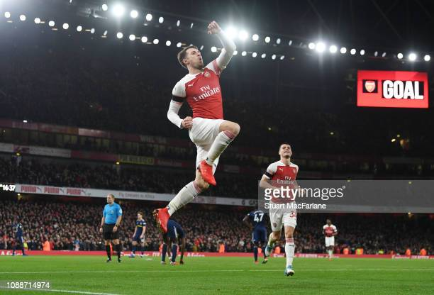 Aaron Ramsey celebrates scoring the 3rd Arsenal goal during the Premier League match between Arsenal FC and Fulham FC at Emirates Stadium on January...