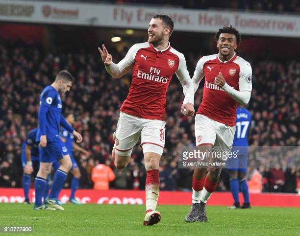Aaron Ramsey celebrates scoring the 3rd Arsenal goal during the Premier League match between Arsenal and Everton at Emirates Stadium on February 3...