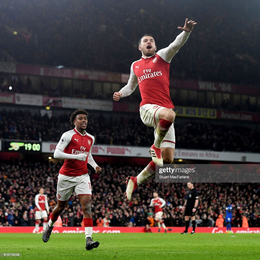 Aaron Ramsey celebrates scoring the 3rd Arsenal goal during the Premier League match between Arsenal and Everton at Emirates Stadium on February 3, 2018 in London, England.