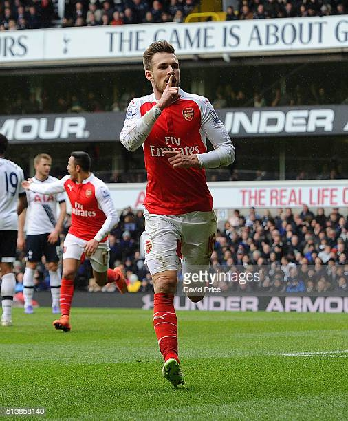 Aaron Ramsey celebrates scoring the opening goal for Arsenal during the Barclays Premier League match between Tottenham Hotspur and Arsenal at White...