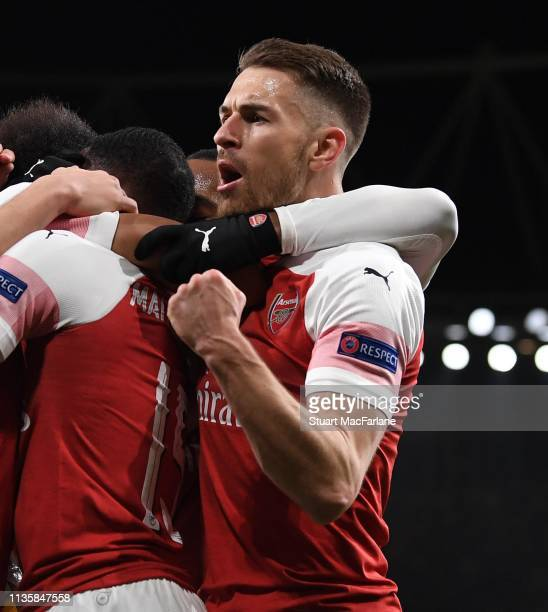 Aaron Ramsey celebrates the 1st Arsenal goal during the UEFA Europa League Round of 16 Second Leg match between Arsenal and Stade Rennais at Emirates...