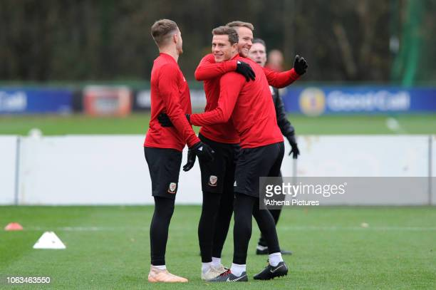 Aaron Ramsey Chris Gunter and James Lawrence of Wales during the Wales Training Session at The Vale Resort on November 19 2018 in Cardiff Wales
