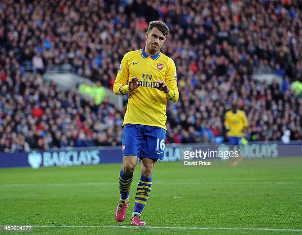 Aaron Ramsey doesn't celebrate scoring Arsenal's goal during the match Cardiff City against Arsenal at Cardiff City Stadium on November 30 2013 in...