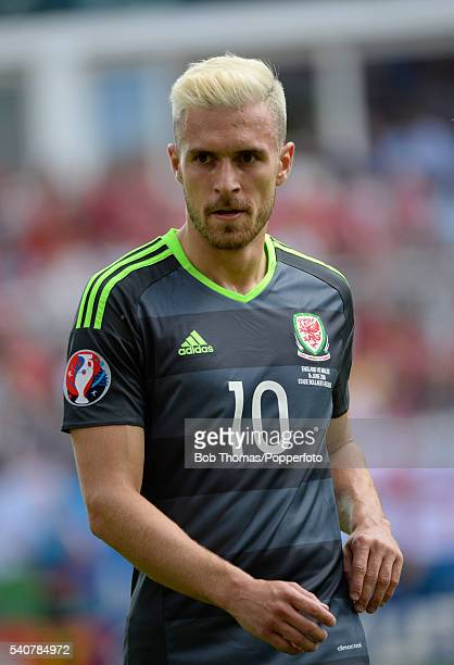 Aaron Ramsey in action for Wales during the UEFA EURO 2016 Group B match between England and Wales at Stade BollaertDelelis on June 16 2016 in Lens...