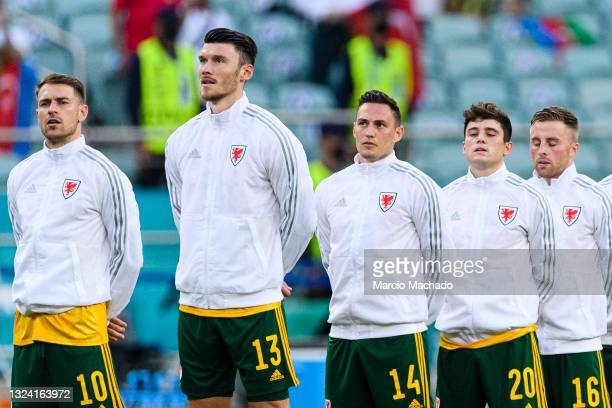 Aaron Ramsey, Kieffer Moore, Connor Roberts, Daniel James and Joe Morrell of Wales during the UEFA Euro 2020 Championship Group A match between...