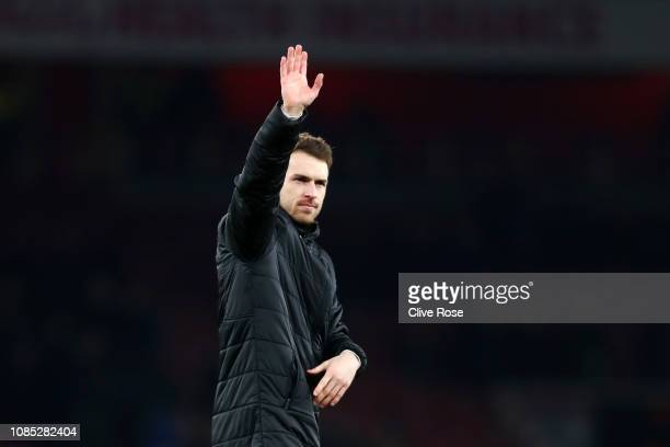 Aaron Ramsey of Arsenal acknowledges the fans after the Premier League match between Arsenal FC and Chelsea FC at Emirates Stadium on January 19 2019...