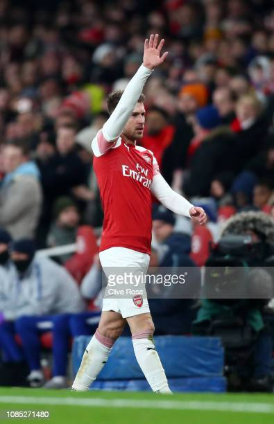 Aaron Ramsey of Arsenal acknowledges the fans as he is substituted during the Premier League match between Arsenal FC and Chelsea FC at Emirates...