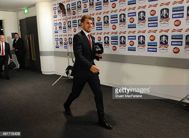 Aaron Ramsey of Arsenal before the FA Cup Final between Arsenal and Hull City at Wembley Stadium on May 17 2014 in London England