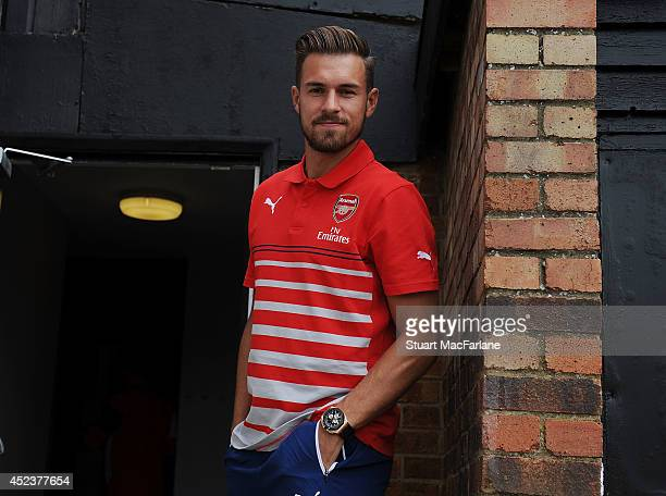 Aaron Ramsey of Arsenal before the pre season match between Borehamwood and Arsenal at Meadow Park on July 19 2014 in Borehamwood England
