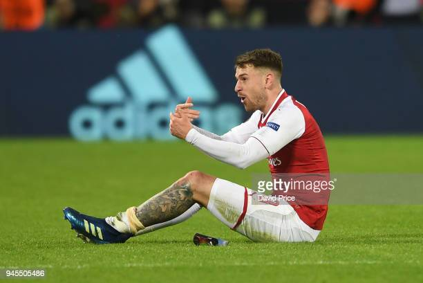 Aaron Ramsey of Arsenal calls for the physio during the UEFA Europa League quarter final leg two match between CSKA Moskva and Arsenal FC at on April...