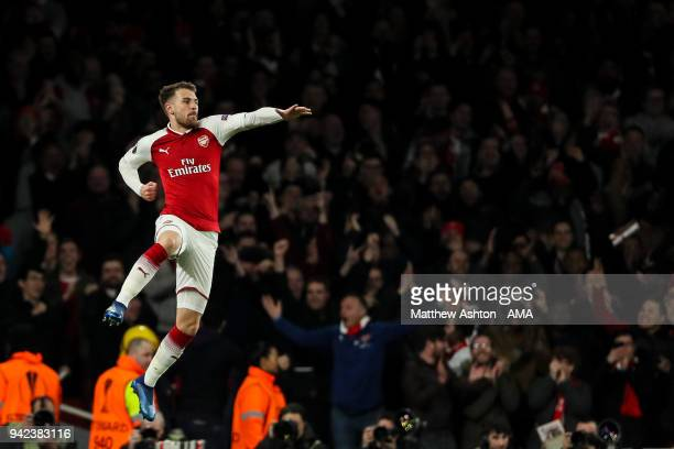 Aaron Ramsey of Arsenal celebrates after scoring a goal to make it 31 during the UEFA Europa League Quarter Final First Leg match between Arsenal FC...