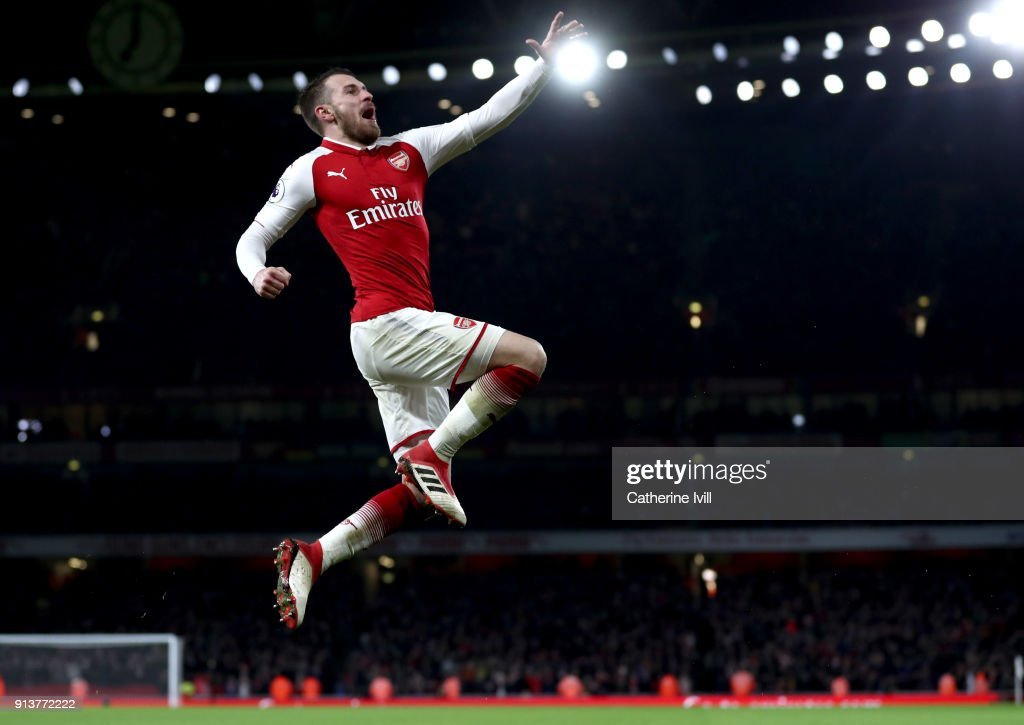 Aaron Ramsey of Arsenal celebrates after scoring his sides fifth goal during the Premier League match between Arsenal and Everton at Emirates Stadium on February 3, 2018 in London, England.