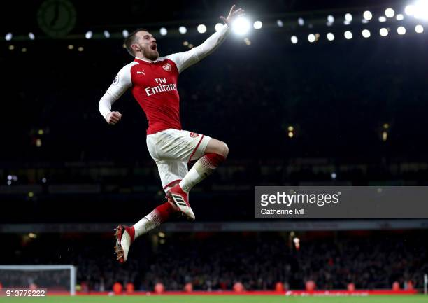 Aaron Ramsey of Arsenal celebrates after scoring his sides fifth goal during the Premier League match between Arsenal and Everton at Emirates Stadium...